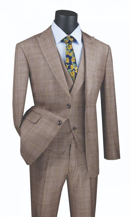 Vinci Men's Outlet 3 Piece Modern Fit Suit - Stylish Vest