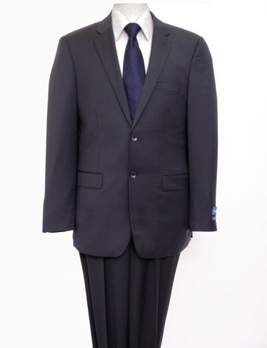 ZeGarie Men's 2 Piece 100% Wool Executive Suit - Solid Navy