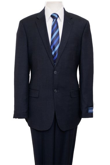 ZeGarie Men's 2 Piece 100% Wool Executive Suit - Navy Birdseye
