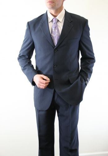Vitto Men's 2 Piece Tailored Fit Pinstripe Outlet Suit - Pleated Pants