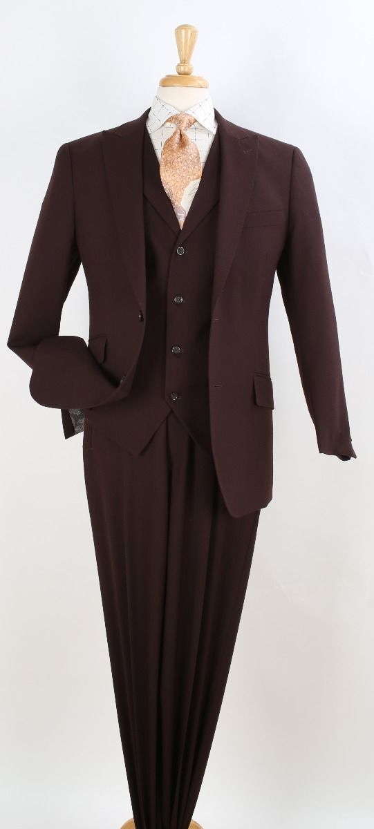 Apollo King Men's 3pc 100% Wool Suit - Fashion Peak Lapel
