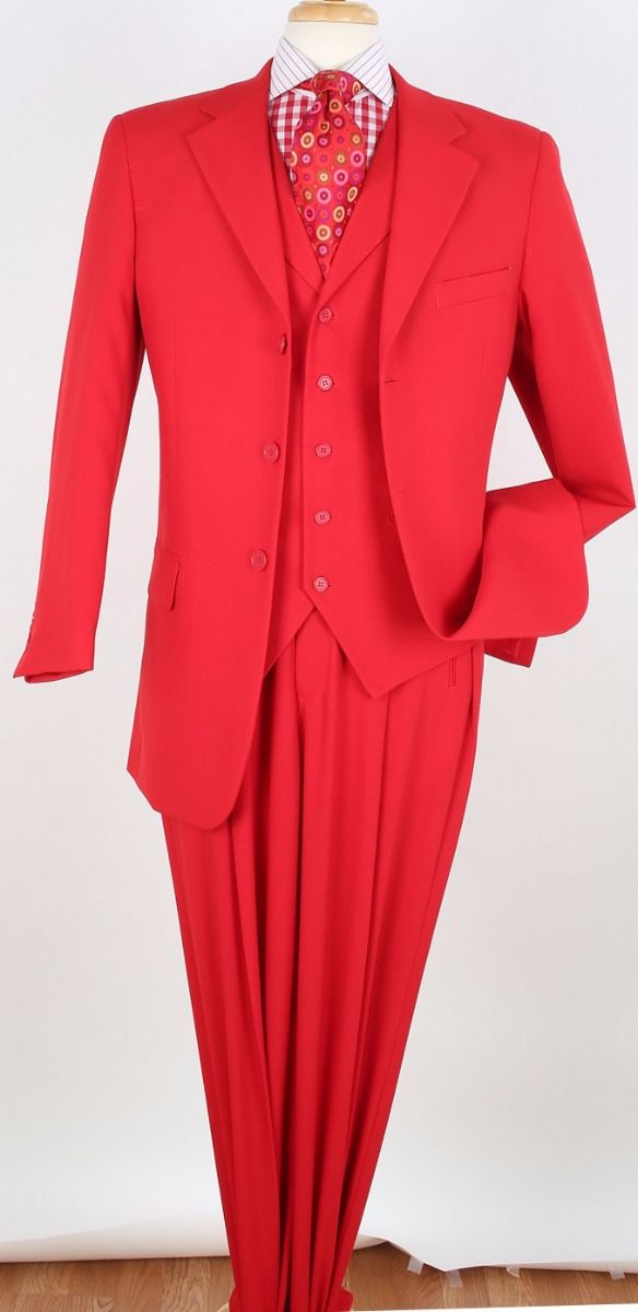 Royal Diamond Men's 3pc Outlet Fashion Suit - Solid Red