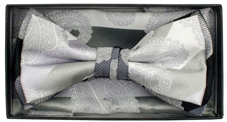 Karl Knox Men's Square End Bow Tie Set - Multicolor Pattern