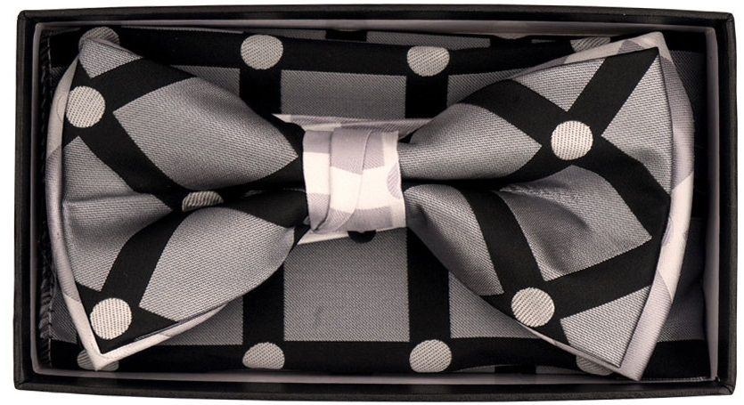 Karl Knox Men's Square End Bow Tie Set - Dotted Windowpane