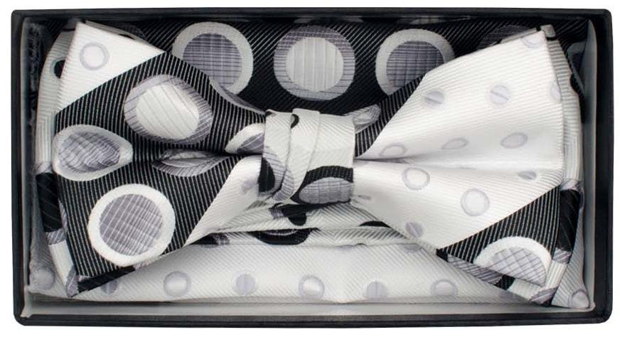 Karl Knox Men's Square End Bow Tie Set - Varied Dotted Patterns