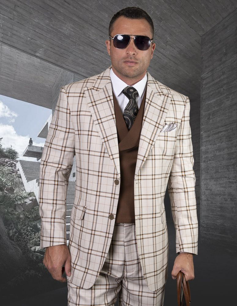 Statement Men's Outlet 100% Wool 3 Piece Suit - Layered Windowpane