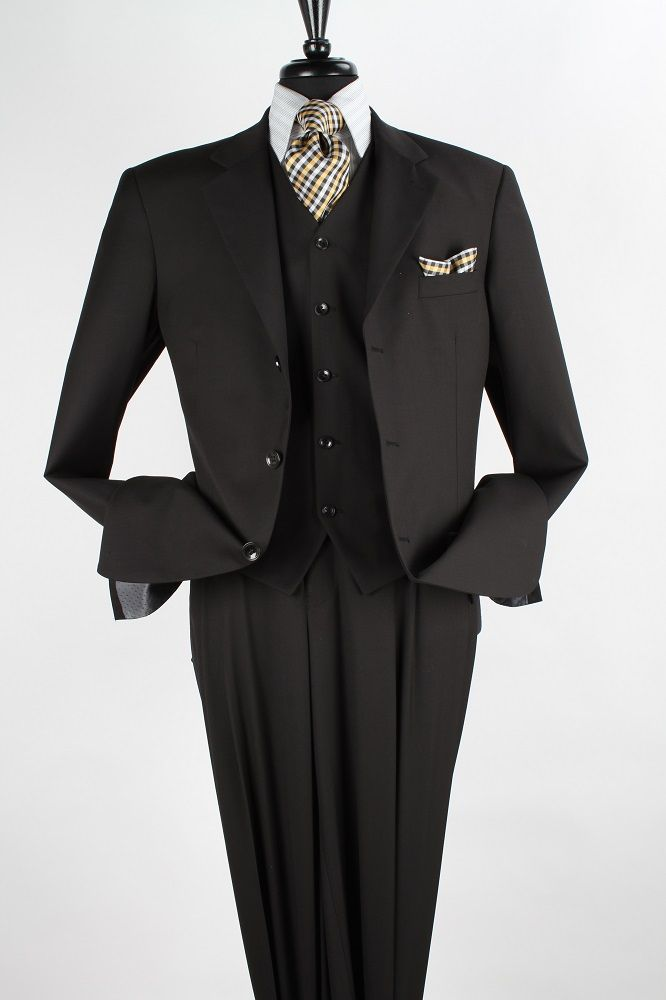 Apollo King Men's 3 Piece Executive Suit - Sleek Black
