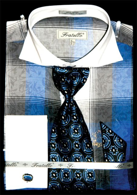 Fratello Men's Outlet French Cuff Dress Shirt Set - Contemporary Cotton