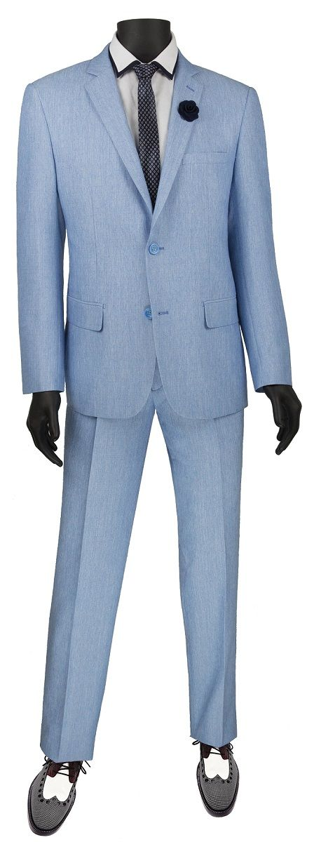 Vinci Men's 2 Piece Slim Fit Suit - Stylish Textured Weave