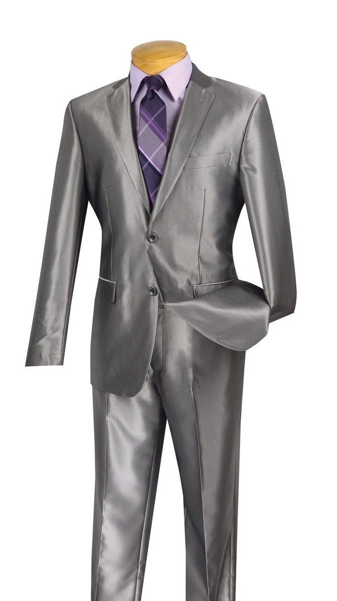 Vinci Men's Outlet 2 Piece Slim Fit Suit - Fashion Sharkskin