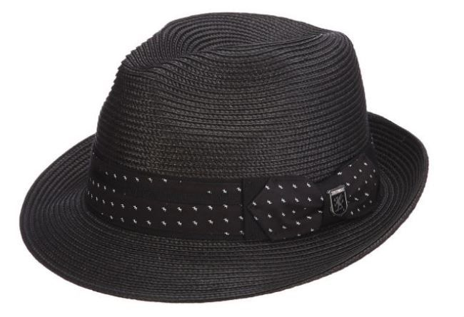 Stacy Adams Men's Pinch Front Fedora Hat - Patterned Ribbon Band