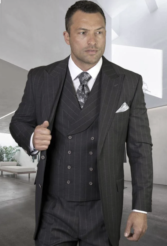 Statement Men's Outlet 100% Wool 3 Piece Suit - Two Tone Pinstripe