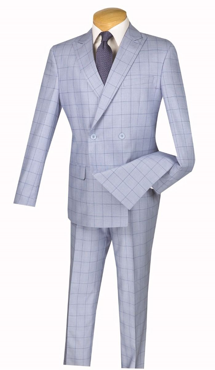 Vinci Men's Slim Fit Double Breasted Suit - Windowpane
