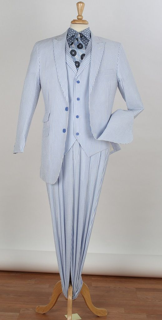 Royal Diamond Men's 3 Piece Seersucker Suit - 100% Cotton