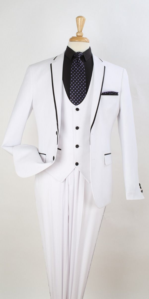 Royal Diamond Men's 3pc Slim Fit Outlet Suit - Black Piping