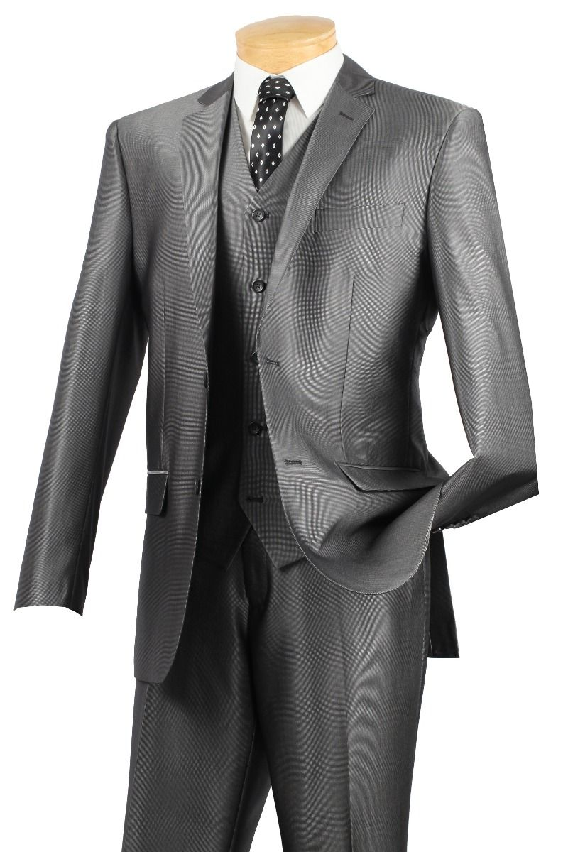 Vinci Men's 3 Piece Wool Feel Slim Fit Outlet Suit - Textured Solid