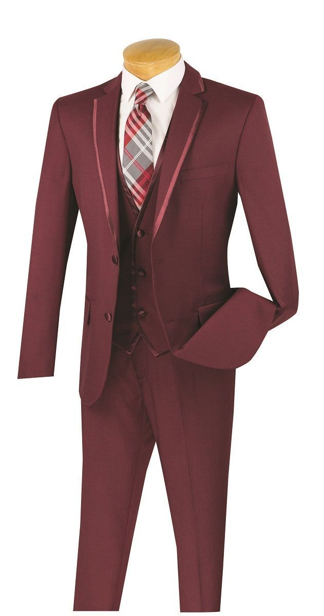 Vinci Men's 3 Piece Wool Feel Slim Fit Suit - Lapel Accent