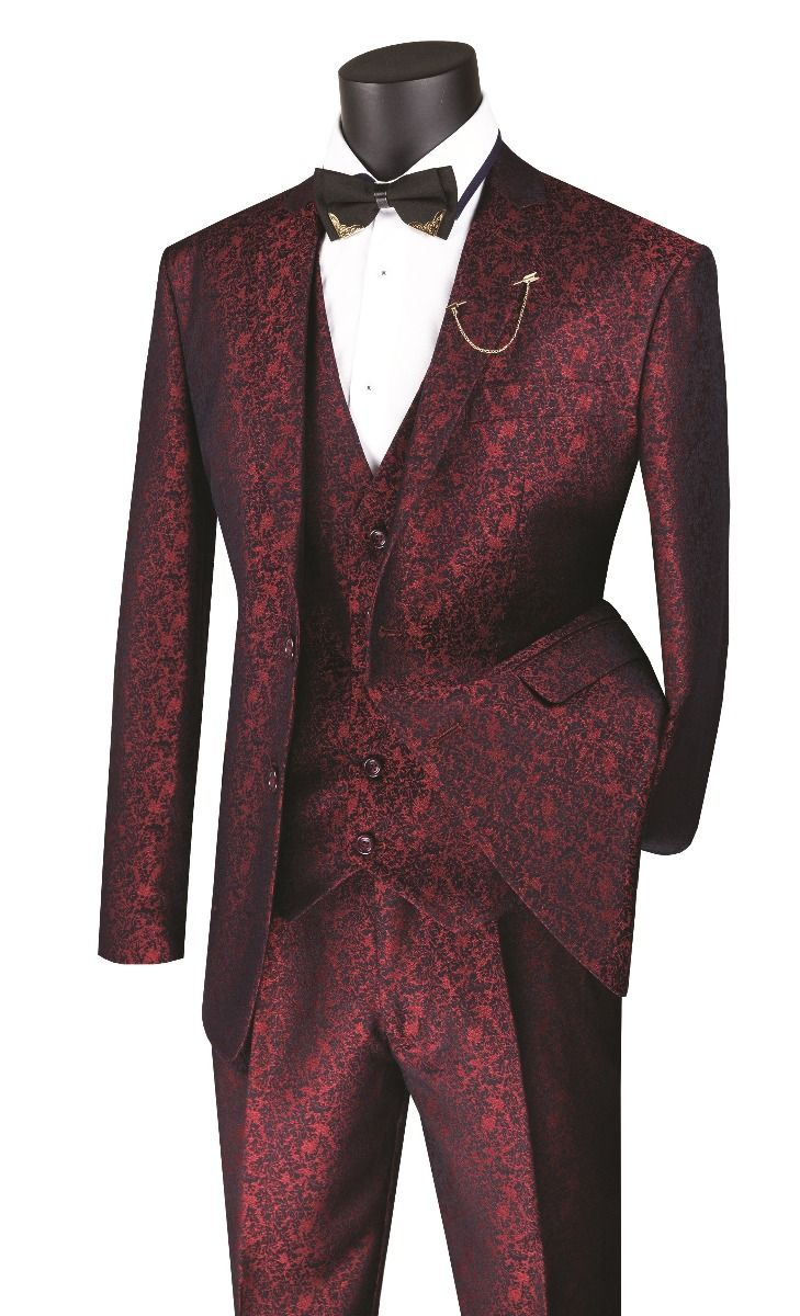 Vinci Men's 3 Piece Wool Feel Slim Fit Suit - Metallic Floral