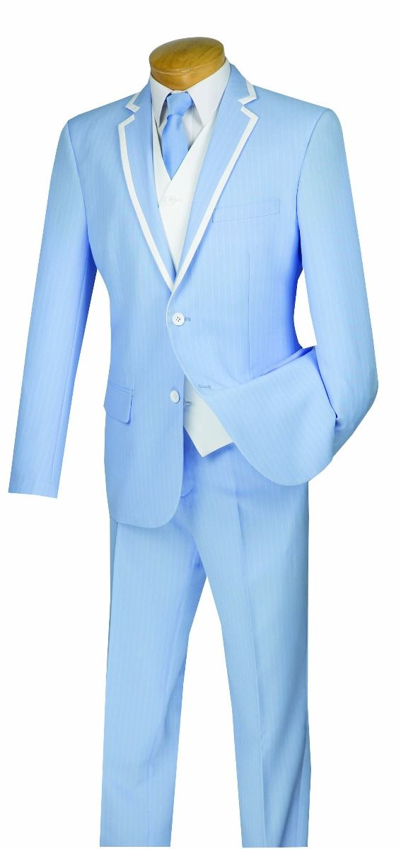 Vinci Men's 3 Piece Wool Feel Slim Fit Suit - White Vest and Accents