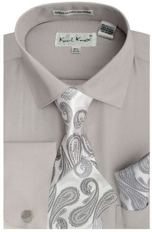 Karl Knox Men's French Cuff Shirt Set - Paisley Tie