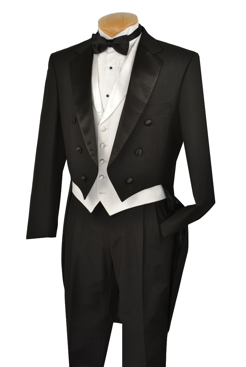 Vinci Men's Outlet 3 Piece Tuxedo with Tails - Luxurious Wool Feel