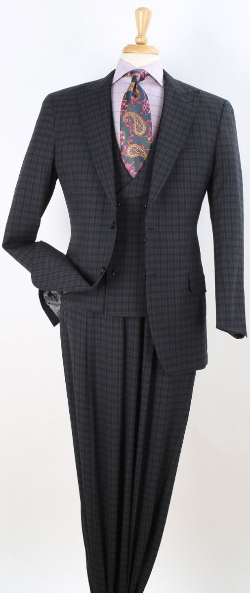 Apollo King Men's 3pc 100% Wool Fashion Suit - Stylish Shawl Vest