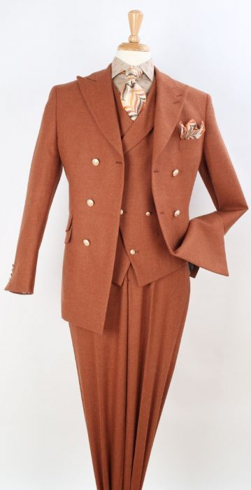 Apollo King Men's Outlet 3pc 100% Wool Fashion Suit - Metal Buttons