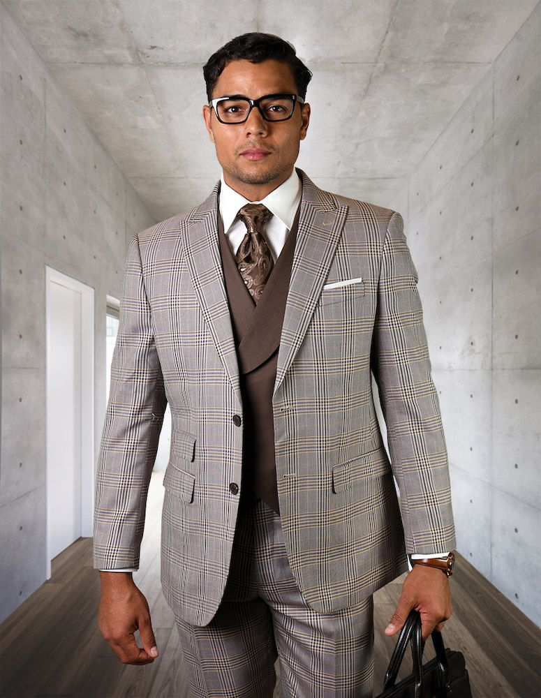 Statement Men's 3 Piece 100% Wool Suit - Two Tone Striped Windowpane