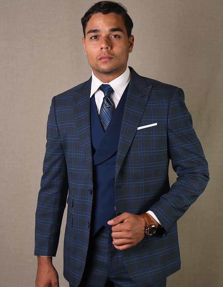 Statement Men's 3 Piece 100% Wool Suit - Striped Windowpane