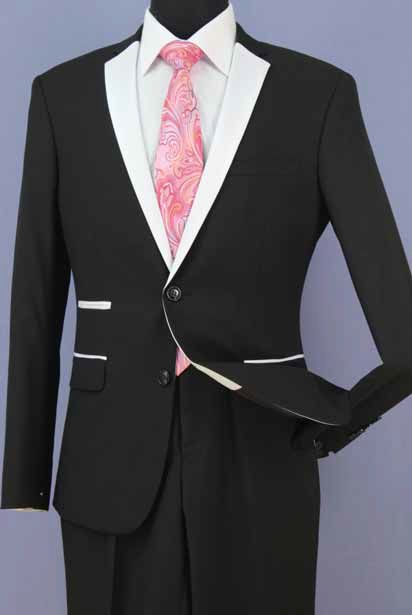 Loriano Men's 2 Piece Slim Fit Wool Blend Fashion Outlet Suit - Contrast
