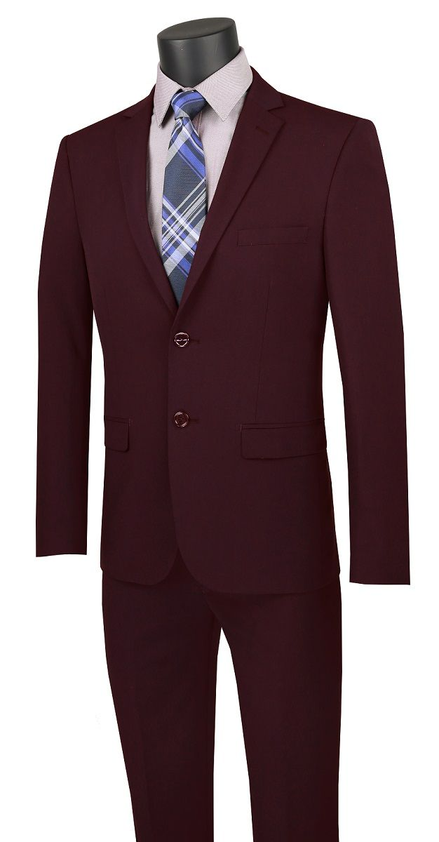 Vinci Men's 2 Piece Wool Feel Slim Outlet Suit - Classic Business