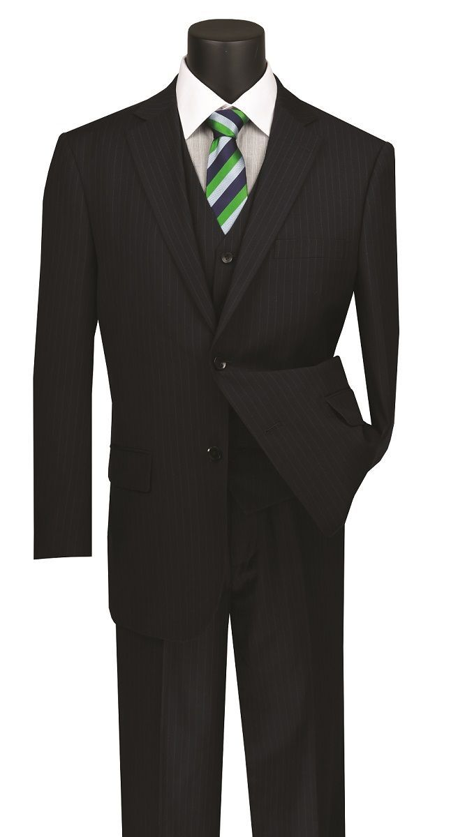 Vinci Men's Outlet 3 Piece Wool Feel Executive Suit - Pinstripe