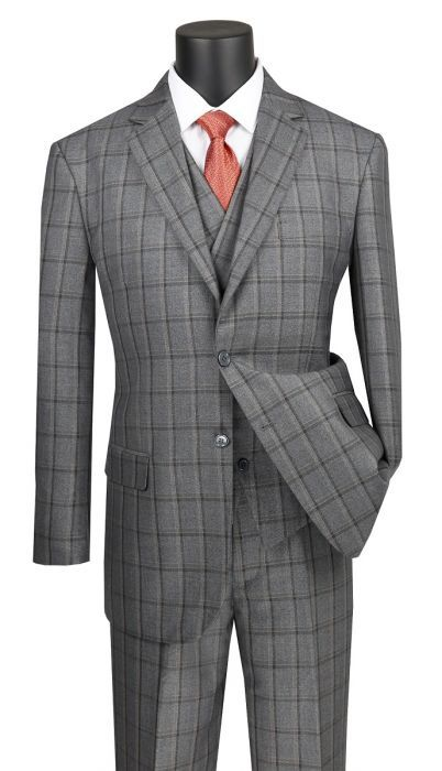 Vinci Men's 3 Piece Executive Outlet Suit - Double Breasted Vest