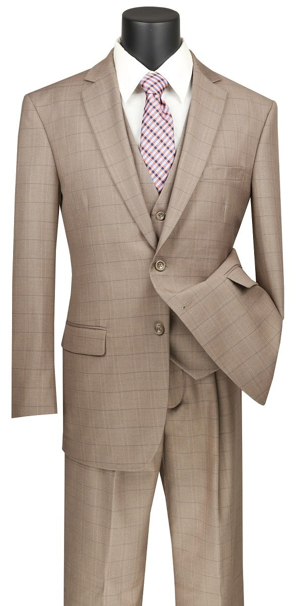 Vinci Men's 3 Piece Wool Feel Executive Suit - Windowpane