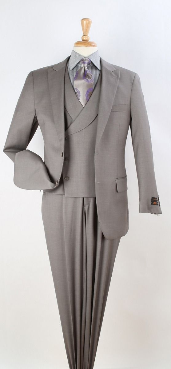 Apollo King Men's 3pc 100% Wool Fashion Suit - Modern Business