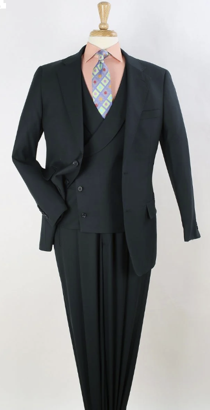 Apollo King Men's Outlet 3pc 100% Wool Fashion Suit - Solid Green