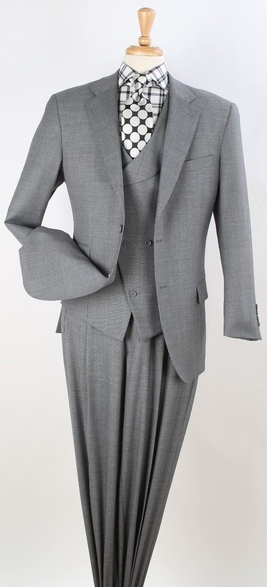 Apollo King Men's 3pc 100% Wool Fashion Suit - Unique Slanted Vest