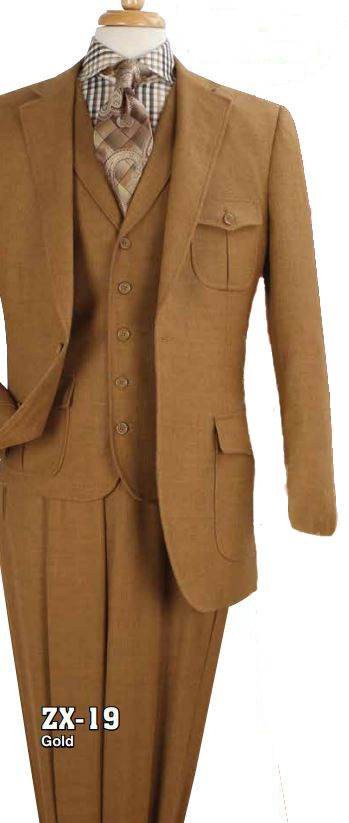 Apollo King Men's 3pc 100% Wool Fashion Suit - Box Pleated Pockets