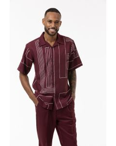 Montique Men's 2 Piece Walking Suit - Geometric Lines