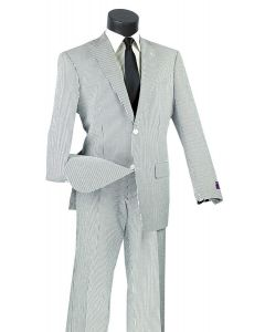 Vinci Men's 2 Piece Seersucker Suit - Light 100% Cotton