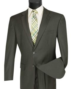 Vinci Men's 2 Piece Wool Feel Executive Suit - Stylish Solid