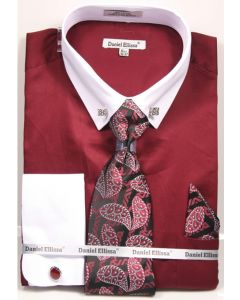 Daniel Ellissa Men's French Cuff Shirt Set - Fashion Collar Bar