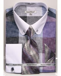 Daniel Ellissa Men's French Cuff Shirt Set - Tiles w/ Collar Bar