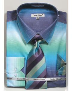 Daniel Ellissa Men's Convertible Cuff Shirt Set - Fashion Multicolor