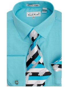 Karl Knox Men's French Cuff Shirt Set - Soft Textured Solid
