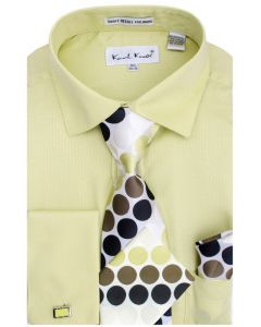 Karl Knox Men's French Cuff Shirt Set - Subtle Textured Stripes