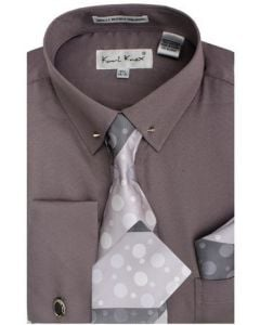Karl Knox Men's French Cuff Shirt Set - Executive with Collar Bar