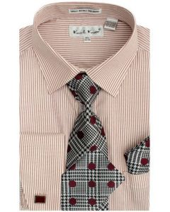 Karl Knox Men's French Cuff Shirt Set - Stylish Stripes