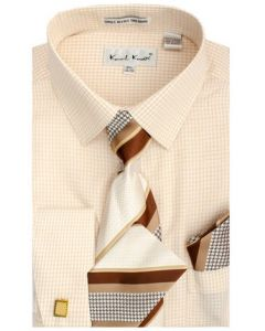 Karl Knox Men's French Cuff Shirt Set - Mini Checkerboard