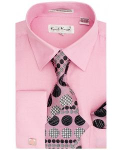 Karl Knox Men's French Cuff Shirt Set - Polka Dot Stripes
